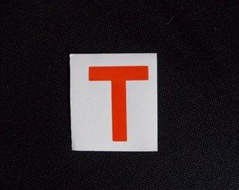 "Vinyl T Vehicle Decal! Measures  2.5""  x   2""!"