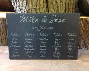 Beautiful personalised handmade slate wedding table plan,your choice of font,design and size