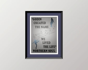 """Northern Soul Poster, Digital Illustration, """"Remembering Dave Godin"""", A4 Quality Print 297 x 210mm, 11.7 x 8.3 ins, LIMITED EDITION. (10)."""