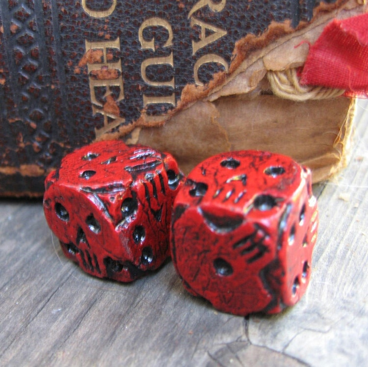 Hand Cast Red Skull Dice Oogie Boogie Dice By