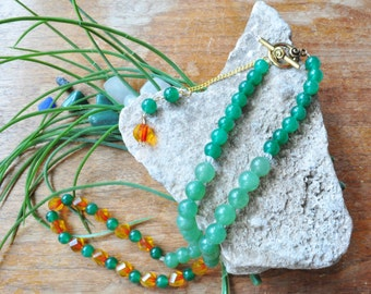 Zen Series: calming green, fiery yellow and relaxing red beaded necklace