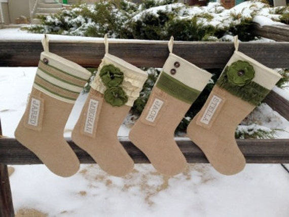 Custom Handmade Personalized Burlap Christmas Stockings