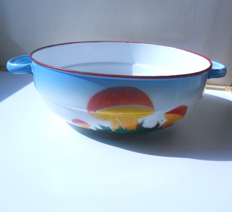 Enamel Kitchen Accessories: Vintage Enamel Bowl Rustic Kitchen Decor White Blue Orange
