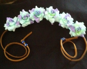 Coachella Flower Crown Pastel Purple Lavender and mint Rose Flower Crown Headband
