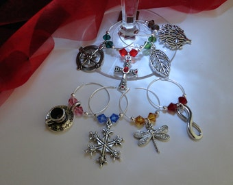 Outlander Inspired Wineglass Charms, Set of 8 for all Books, Large & Small available