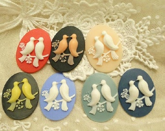 5pcs Mixed Colors Environmental Protection Resin Reliefs Accessories ,Elliptical Resin Birds,DIY Manually Jewelry Accessories,30MMX40MM
