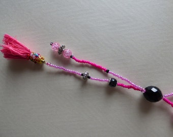 necklace tangy pink and black - Made in FRANCE