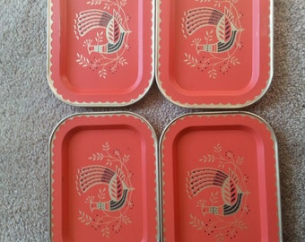 LAST CANCE SALE!! Vintage Red and Gold Chicken Metal Set of Four Trays