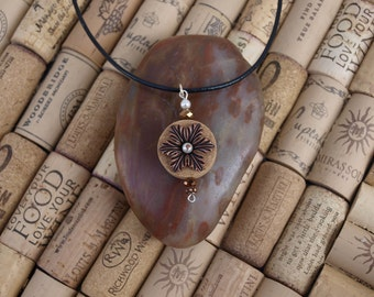 Wine cork necklace with copper flower