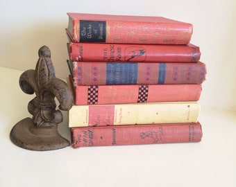 Vintage Raspberry Red Books, Set of 6
