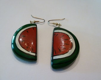 Vintage Watermelon Earrings Painted Enamel Costume Jewelry Summer