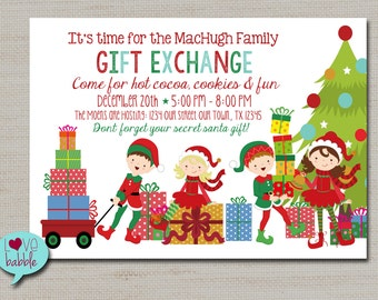 Christmas gift exchange party rainforest islands ferry christmas gift exchange secret santa white elephant family party invitation printable digital file 5x7 negle Gallery