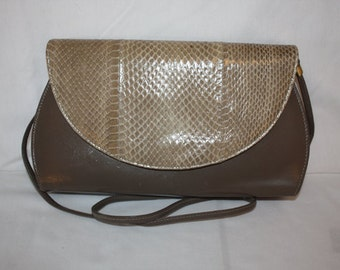Florsheim Purse, taupe snake skin and leather
