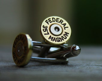 Bullet Cufflinks - 357 Magnum - Spent Shell Casings - Slim Design - Mens Jewelry - Wedding Accessories