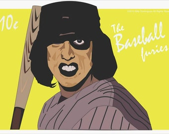The Warriors iconic villains, the Baseball Furies as a uniquely designed poster print designed by Cult.Graphics