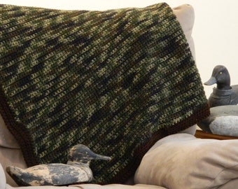 Camo Blanket - Crochet - 4' x 4' - Also Available in Pink Camo