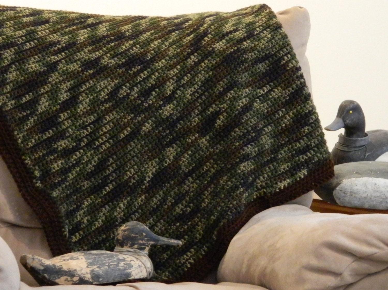 Crochet Patterns For Veterans : Crochet Camo Blanket Gift for Veteran Army Wife by ...