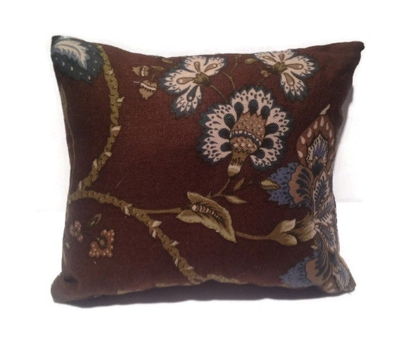 Brown Floral Throw Pillow : Decorative throw pillow floral brown green and blue