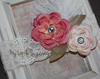 Vintage Lace Headband-Newborn-Baby-Toddler-Girls-Flower Girl-Photo Prop.