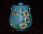 Ransberg Pottery, vintage pottery, cookie jar, storage jar, pottery jar, lidded jar, blue cookie jar, daisy decoration, vintage