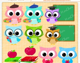 School Time Owls Clipart Set - For Commercial and Personal Use
