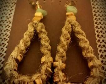 Natural hemp tear drop hempearrings