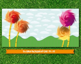 Printable The Lorax dessert table party backdrop (digital file)
