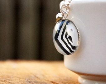CHEVRON NECKLACE - Starbucks Jewelry, B&W Jewelry, Ecofriendly Jewelry, Chevron Stripe, Upcycled Necklace, Graphic Pendant, Chevron Pendant