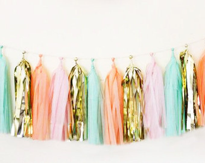 Tassel garland | Tissue garland in metallic gold, pink, peach, and mint for your birthday | Wedding decor | Baby shower
