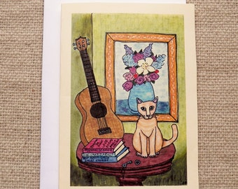 Cat and Ukelele greeting card and envelope