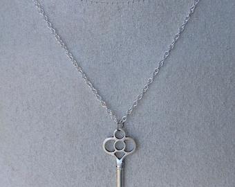 Antiqued Silver Skeleton Key Necklace