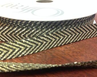 "Maggie Chevron Ribbon - BLACK/ GOLD - 1/2"" - 25 yard spool - 50% Metallic 50 Polyester - Offray  Craft Ribbon - Zig Zag Stripes"