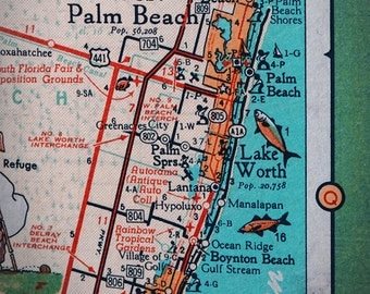 West Palm Beach Lake Worth Rivera Retro Map Print Funky Vintage Turquoise Photo Of