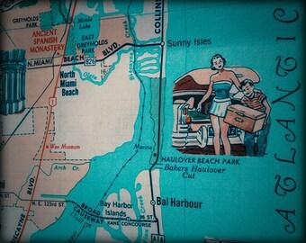 North Miami beach Bal Harbour Sunny Isles Haulover Beach retro beach map print funky vintage Aqua photo of Florida East Coast