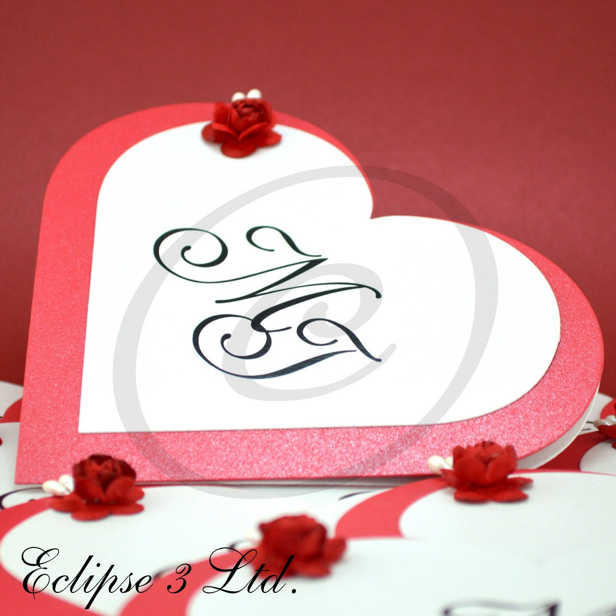 50 pcs Heart shaped wedding invitations with paper rose ...