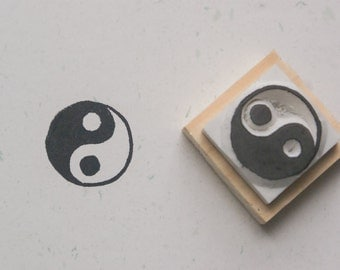 Tai Ji Stamp(Ying Yang Stamp) . hand carved stamp.  rubber stamp.  mounted