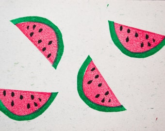 Watermelon Stamp. Set of two. hand carved stamp. rubber stamp. unmounted!!!