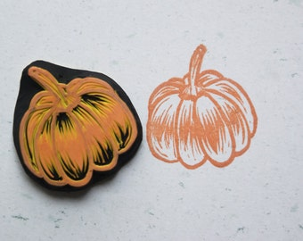 Pumpkin Stamp.Halloween stamp. rubber stamp. hand carved stamp. mounted.