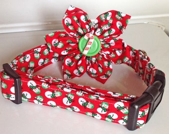 Snowman Christmas Collar with Available Matching Flower or Bow Tie for Dogs and Cats