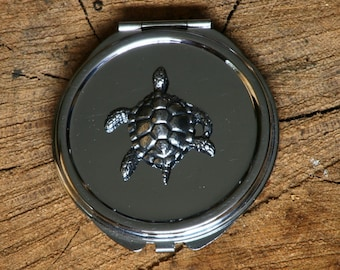 Turtle Compact Handbag Mirror Ladies Engraved Gift