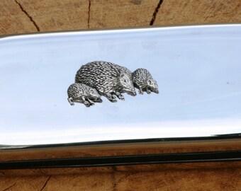 Hedgehog Metal Pen Case & Ball Point Set Gift FREE ENGRAVING