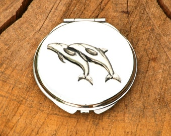 Dolphin Compact Handbag Mirror Ladies Engraved Gift