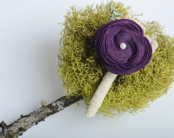 Purple, Pantone Sola Flower Boutonniere, Groom Boutonniere, Keepsake Boutonniere, Best men Boutonniere