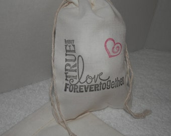 WEDDING GIFT BAGS, 4 x 6 Cotton Muslin Favor, Bridal Showers Gift Bags, True Love Bags, Bride Gift Bags, Bridesmaids Gifts, Valentines Gifts