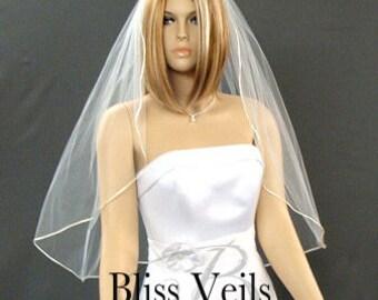 Satin Rattail Veil, Wedding Veil, Waist Length, Bridal Veil, 1 Layer Veil, Ivory Veil, Custom Veil