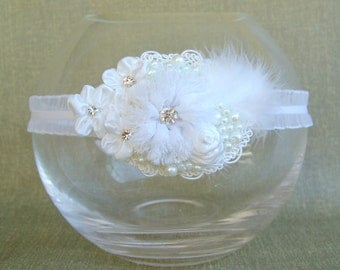 White headband Flower girl headband Girls accessories christening headband
