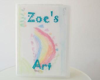"Kids Art Portfolio, Personalized Portfolio for display and storage - Whimsical Design 13""x19"""