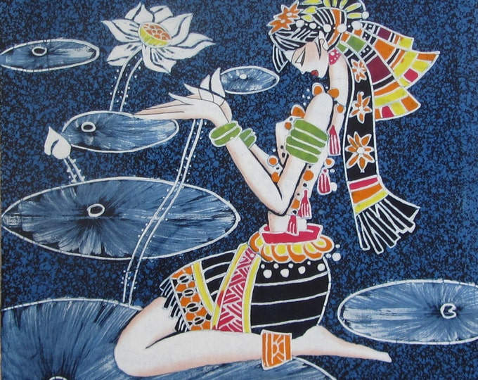 Lotus Girl - Chinese Ethnic Handmade Batik Tapestry Wall Hanging Decor