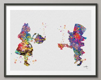 Alice in Wonderland and Mad Hatter Watercolor Print Archival Fine Art Print Children's Wall Art  Home Decor Wall Hanging No 99