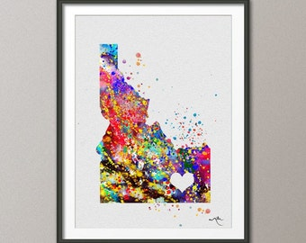 Idaho State Watercolor USA Map Customizable Personelize Art Print Wall Wedding Gift Poster Giclee Home Decor Wall Hanging NO 109]